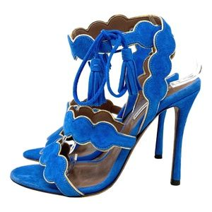 Tabitha Simmons Cirrius Suede Scalloped Sandals